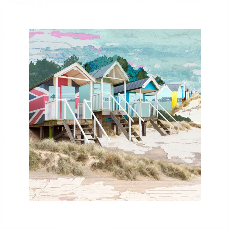 Affordable Art, Art for Sale, Art online, Art prints, Claire Gill, Limited edition prints, digital photomontage, fine art prints, hahnemuhle, coastal art, Collect Art, seascape 53, Holkham, Wells next the Sea, North Norfolk, beach huts