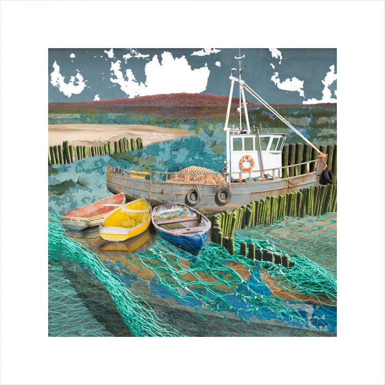 Affordable Art, Art for Sale, Art online, Art prints, Claire Gill, Limited edition prints, digital photomontage, fine art prints, hahnemuhle, coastal art, Collect Art, seascape 59, North Norfolk, Brancaster Staithe