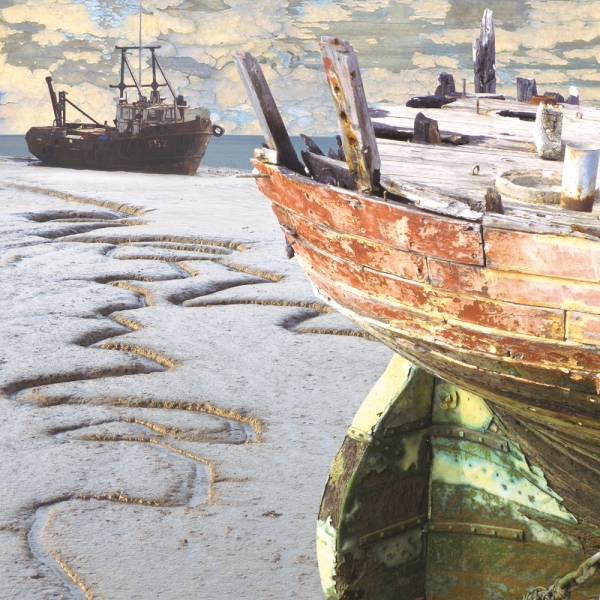 Claire Gill. fine art card, fine art greeting card, greeting card, seascapes, photomontage, coastal art, limited edition prints, seascape 2, Thames, Grays, Oare