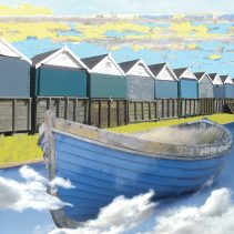 Claire Gill. fine art card, fine art greeting card, greeting card, seascapes, photomontage, coastal art, limited edition prints, seascape 3, clouds, boat, beach huts, bournemouth