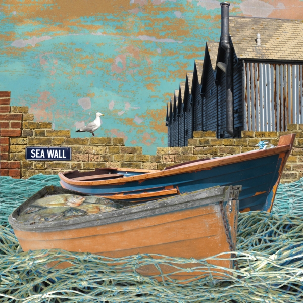 Claire Gill. fine art card, fine art greeting card, greeting card, seascapes, photomontage, coastal art, limited edition prints, seascape 7, island wall, whitstable harbour, Whitstable, kent, boats