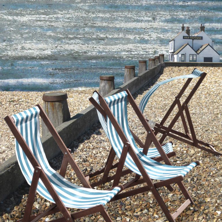 Claire Gill. fine art card, fine art greeting card, greeting card, seascapes, photomontage, coastal art, limited edition prints, seascape 8, Old Neptune Pub, Whitstable, Kent, beach, deckchairs