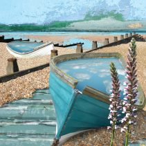 Claire Gill. fine art card, fine art greeting card, greeting card, seascapes, photomontage, coastal art, limited edition prints, seascape 9, Whitstable, groins, boats, acanthus