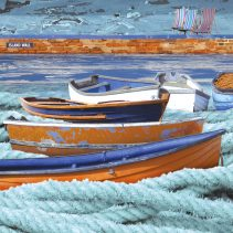 Claire Gill. fine art card, fine art greeting card, greeting card, seascapes, photomontage, coastal art, limited edition prints, seascape 12, boats, island wall