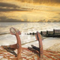 Claire Gill. fine art card, fine art greeting card, greeting card, seascapes, photomontage, coastal art, limited edition prints, seascape 13, anchors, beach