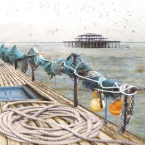 Claire Gill. fine art card, fine art greeting card, greeting card, seascapes, photomontage, coastal art, limited edition prints, seascape 14 Brighton Pier