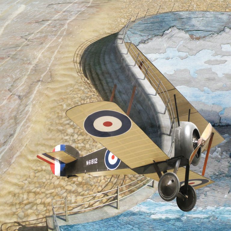 Claire Gill. fine art card, fine art greeting card, greeting card, seascapes, photomontage, coastal art, limited edition prints, seascape 17, sopwith camel, plane, Broadstairs