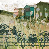 Claire Gill. fine art card, fine art greeting card, greeting card, seascapes, photomontage, coastal art, limited edition prints, seascape 19, poppyhead, beach huts