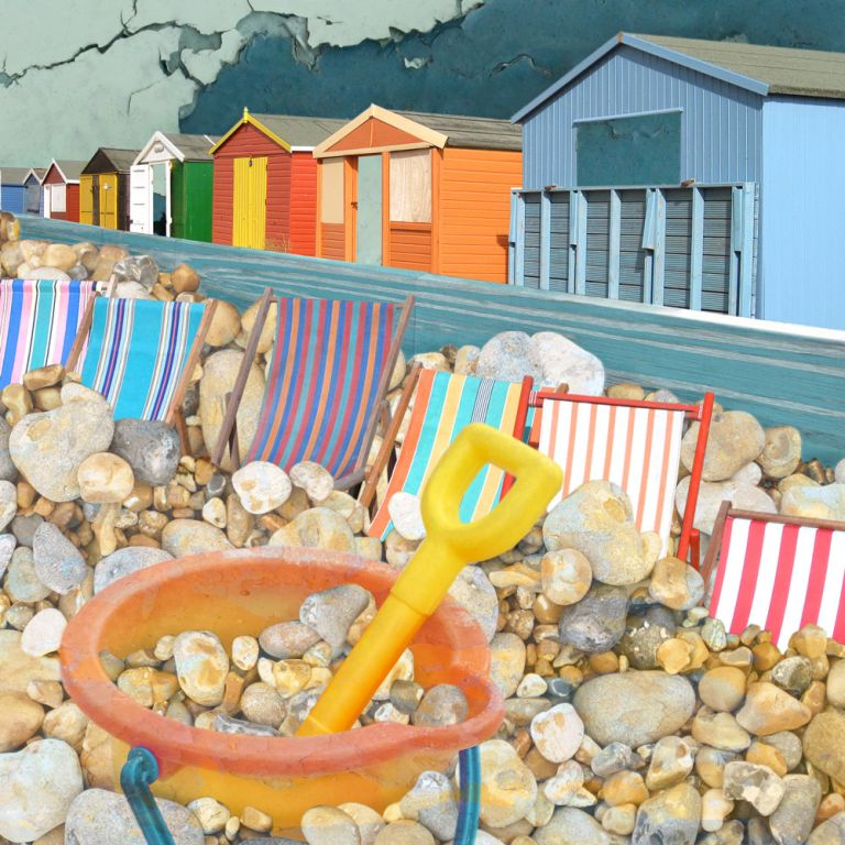Claire Gill. fine art card, fine art greeting card, greeting card, seascapes, photomontage, coastal art, limited edition prints, seascape 20, bucket and spade, deckchairs, beach huts, whitstable