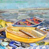 Claire Gill. fine art card, fine art greeting card, greeting card, seascapes, photomontage, coastal art, limited edition prints, seascape 25, glass bottle bay, lower halstow, kent, boats, mosaic, china