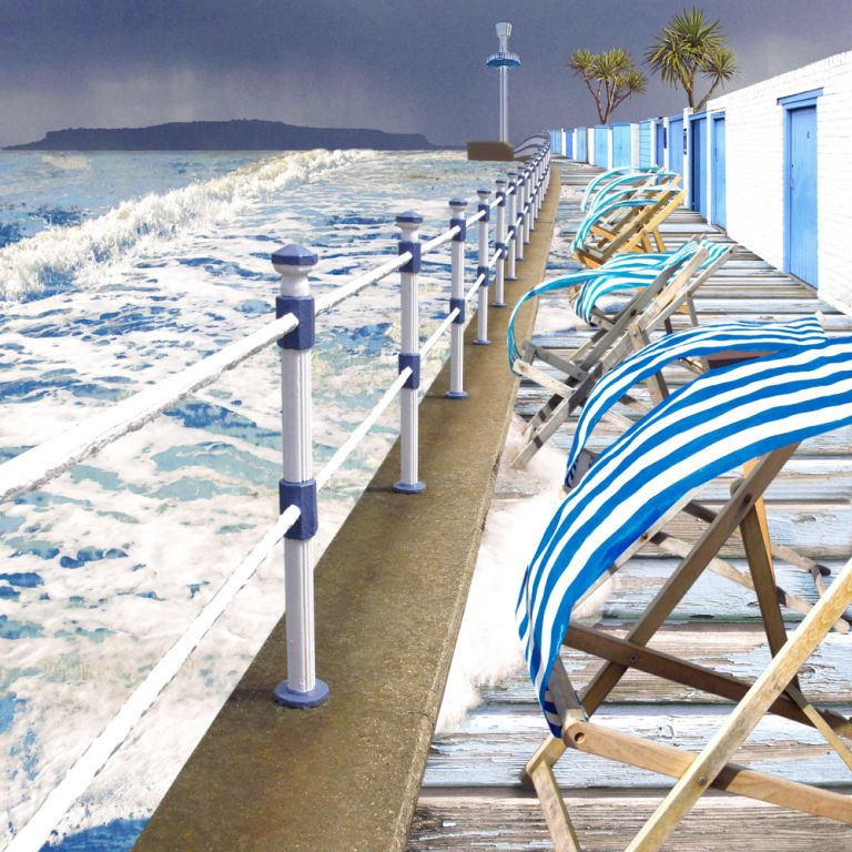 Claire Gill. fine art card, fine art greeting card, greeting card, seascapes, photomontage, coastal art, limited edition prints, seascape 26, Weymouth, Portland, deckchairs