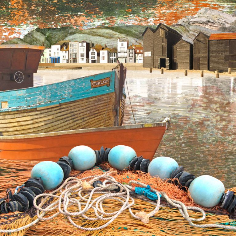 Claire Gill. fine art card, fine art greeting card, greeting card, seascapes, photomontage, coastal art, limited edition prints, seascape 28, Our Lady, Hastings, Fishing Huts, Boats
